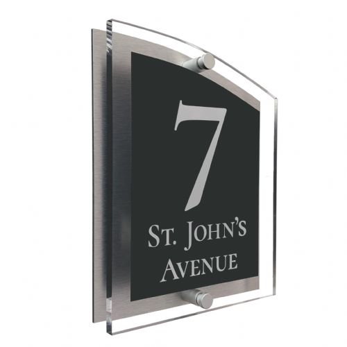 Arc Shape - Clear Acrylic House Sign - Anthracite Colour with White text in Font  2